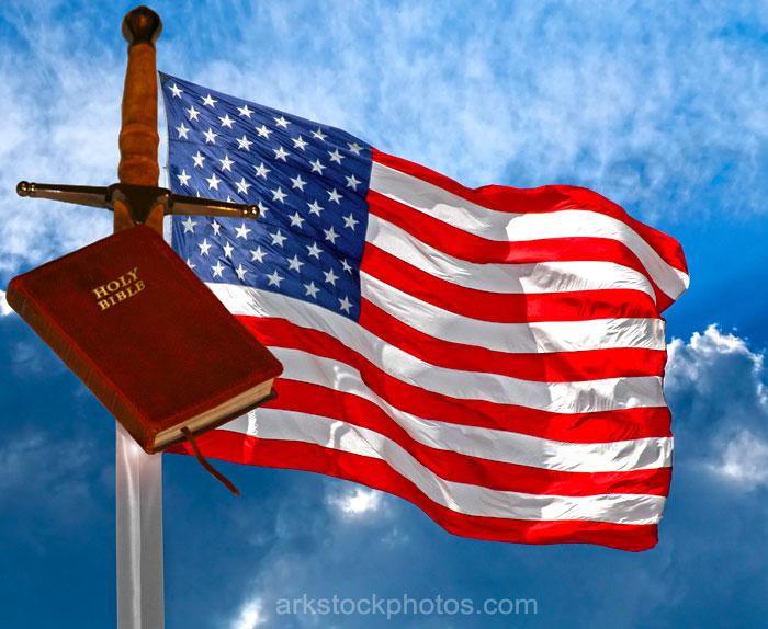 US Flag, Sword and Bible